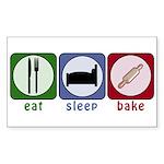 Eat Sleep Bake Sticker (Rectangle)