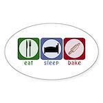 Eat Sleep Bake Sticker (Oval 10 pk)