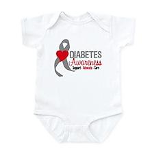 Diabetes Heart Ribbon Infant Bodysuit