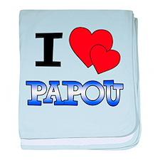 I Love Papou baby blanket