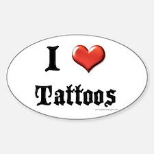 I Love (Heart) Tattoos Oval Decal