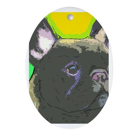 Brindle French Bulldog Ornament (Oval)