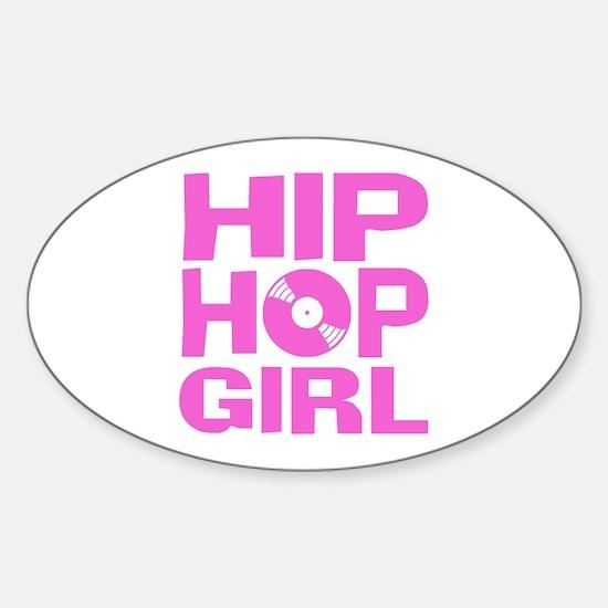 Hip Hop Girl Sticker (Oval)