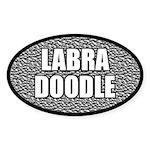 Metallic Labradoodle Oval Sticker