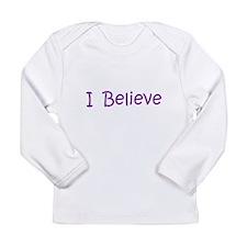 Purple I Believe Long Sleeve Infant T-Shirt