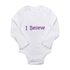 Purple I Believe Long Sleeve Infant Bodysuit
