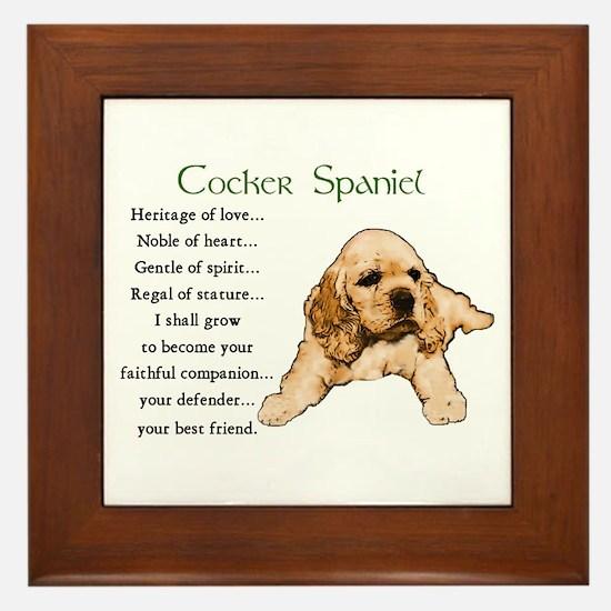 Cocker Spaniel Framed Tile