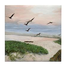 Half Moon Bay w/ pelicans Tile Coaster