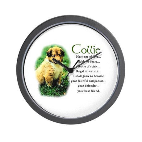 Sable Collie Puppy Wall Clock