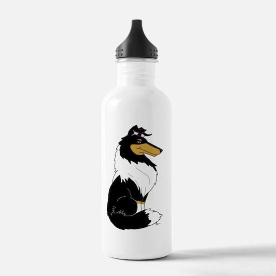 Rough Tricolor Collie Water Bottle