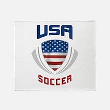 Soccer Crest USA blue Throw Blanket
