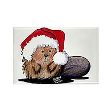 Christmas Beaver Rectangle Magnet