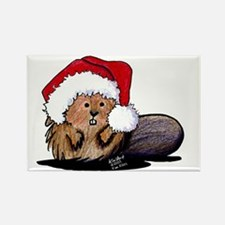 Christmas Beaver Rectangle Magnet