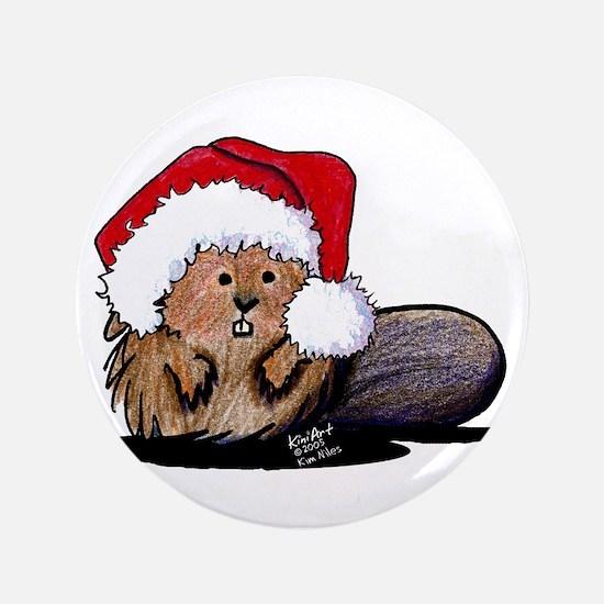 """Christmas Beaver 3.5"""" Button"""