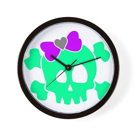 Girly Crossbones Wall Clock