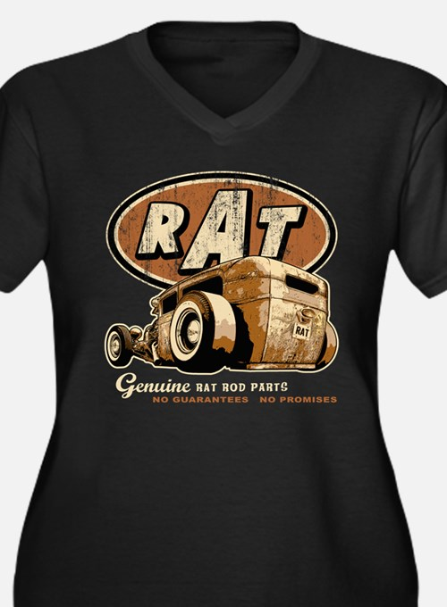 RAT - Low Down Women's Plus Size V-Neck Dark T-Shi
