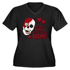 Cute Zombie valentines Women's Plus Size V-Neck Dark T-Shirt