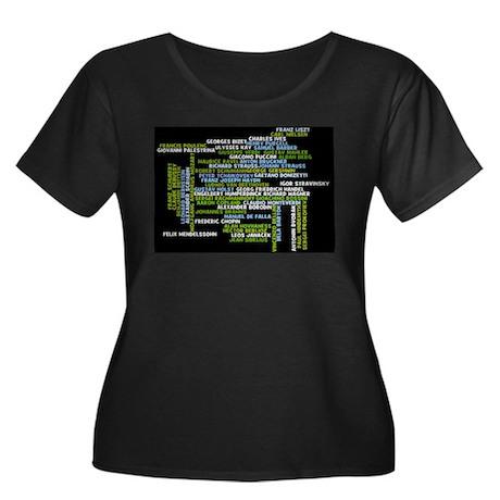 Composers Women's Plus Size Scoop Neck Dark T-Shir