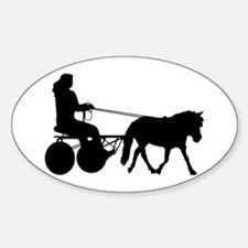 driving silhouette Sticker (Oval)