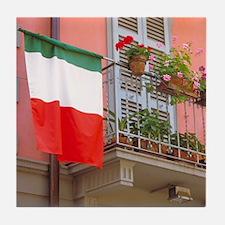 Italy Tile Coaster: <br> Italian flag
