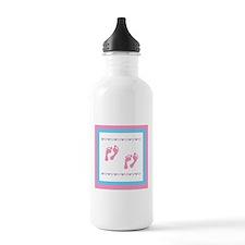 Twin Footprints - Pink Water Bottle