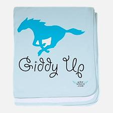 Giddy Up Blue Horse baby blanket