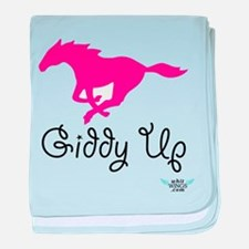Giddy Up Pink Horse baby blanket