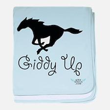 Giddy Up Black Horse baby blanket