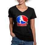 rugby player Women's V-Neck Dark T-Shirt
