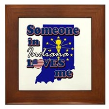someone in Indiana loves me Framed Tile
