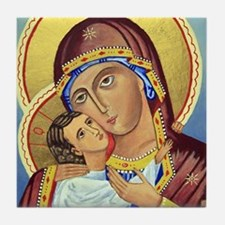 Russian Orthodox Icon of Mary & Jesus Tile Coaster