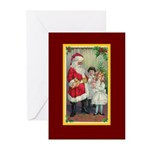 Traditional Santa With Children Greeting Cards (Pk