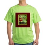 Traditional Santa With Children Green T-Shirt