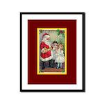 Traditional Santa With Children Framed Panel Print