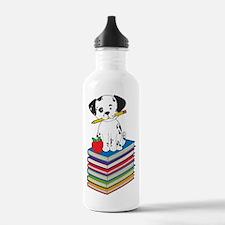 Dog on Books Water Bottle
