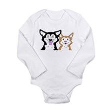 Cool Siberian husky art Long Sleeve Infant Bodysuit
