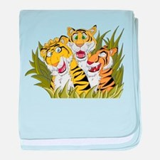 Cartoon Tiger Trio baby blanket