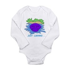 Just Lurking Hippopotamus Long Sleeve Infant Bodys