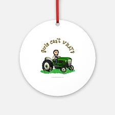 Light Green Farmer Ornament (Round)