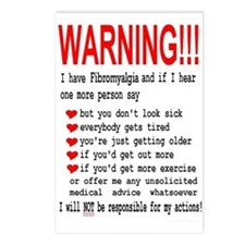 Fibromyalgia WARNING! Postcards (Package of 8)