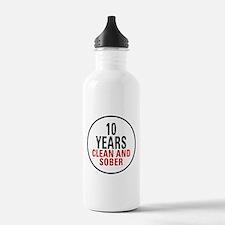 10 Years Clean & Sober Water Bottle