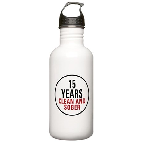 15 Years Clean & Sober Stainless Water Bottle 1.0L