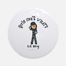 Light Navy Girl USA Ornament (Round)