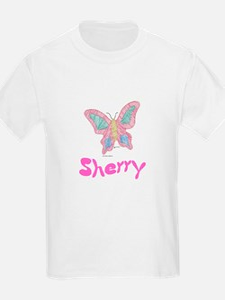 Pink Butterfly Sherry Kids T-Shirt