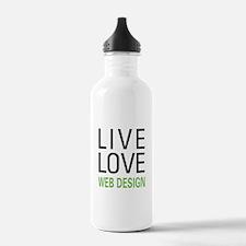 Live Love Web Design Water Bottle