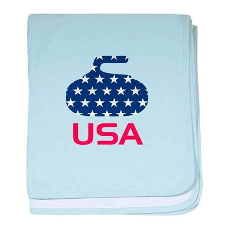 USA curling baby blanket
