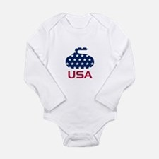 USA curling Long Sleeve Infant Bodysuit