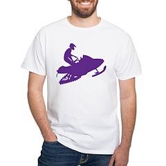 Snowmobiler in Purple Shirt