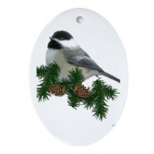 Chickadee Ornament (Pine) (Oval)