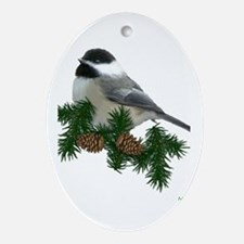 Chickadee Ornament (Pine) (Oval)
